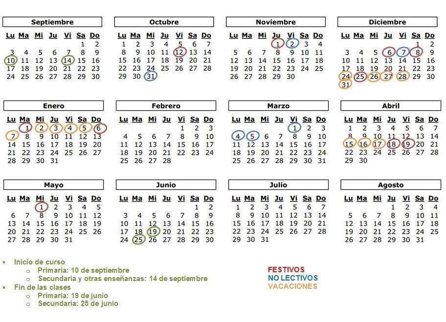 Calendario educastur 2020